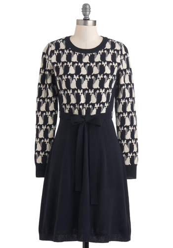 Orla Kiely The Fox of Life Dress by Orla Kiely - Mid-length, Black, Tan / Cream, Print, Belted, Long Sleeve, Winter, Casual, A-line, Print with Animals, Knitted, Work, Quirky, Sweater Dress, International Designer