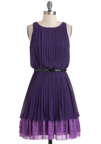 Amy to Please Dress - Purple, Purple, Solid, Tiered, Belted, Minimal, Sleeveless, Fall, Pleats, Mid-length, Party, A-line, Daytime Party, Graduation