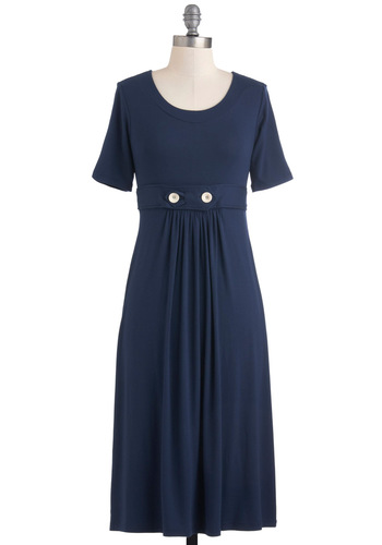 Understated Style Dress - Long, Blue, White, Solid, Buttons, Belted, Casual, Nautical, Maxi, Short Sleeves, Fall, Work, Jersey, Variation, Top Rated