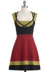 Guac n' Roll Dress - Trim, Casual, A-line, Sleeveless, Fall, Mid-length, Multi, Red, Green, Black, Colorblocking, Variation