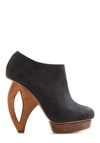 Along the Cutting Edge Heel by Dolce Vita - Black, Solid, Party, Girls Night Out, Statement, Urban, High, Leather, Platform, Chunky heel