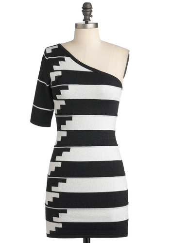 Stairway to Chic Dress - Stripes, Girls Night Out, Mod, Bodycon / Bandage, One Shoulder, Short, Black, White, Party