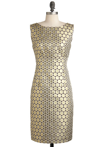 Coin the Fun Dress - Mid-length, Gold, Party, Cocktail, Sheath / Shift, Sleeveless, Print, Vintage Inspired, Luxe, Holiday Party