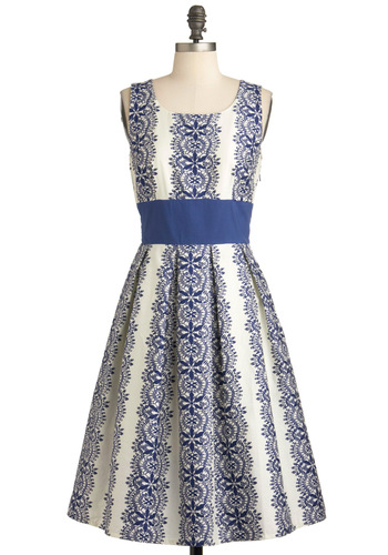 Katie's Keep It Precious Dress - Long, Blue, White, Print, Pleats, Fit & Flare, Sleeveless, Spring, Cotton, Daytime Party, Graduation