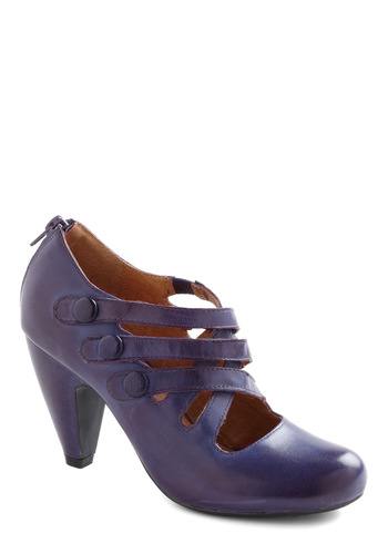 Closed Carriage Chic Heel by Miz Mooz - Purple, Solid, Buttons, Mid, Party, Work, Vintage Inspired, 30s, Leather, Chunky heel