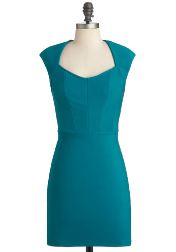 Let's Repartee Dress - Mid-length, Solid, Cocktail, Sheath / Shift, Cap Sleeves, Green, Girls Night Out, Bodycon / Bandage, Sweetheart