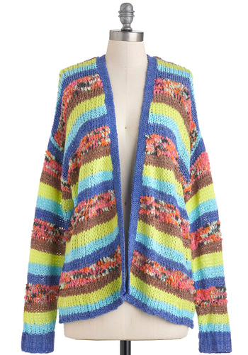 Grace Ventura Cardigan - Multi, Green, Blue, Brown, Stripes, Knitted, Long Sleeve, Mid-length, Casual, 90s, Fall, Neon