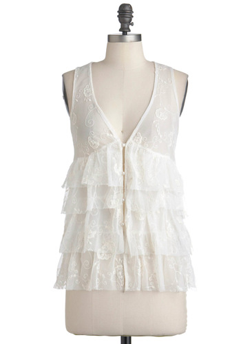 As Tiers Go By Top - Cream, Embroidery, Tiered, Tank top (2 thick straps), Fairytale, Mid-length, Party, Casual