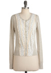Sunrise Light Cardigan - Cream, Buttons, Lace, Trim, Long Sleeve, Short, Solid, Crochet, Casual, Cotton, Button Down