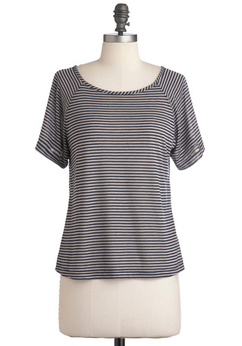 Locker Buddy Top - Blue, Tan / Cream, Stripes, Casual, Short Sleeves, Mid-length, Sheer, Boat