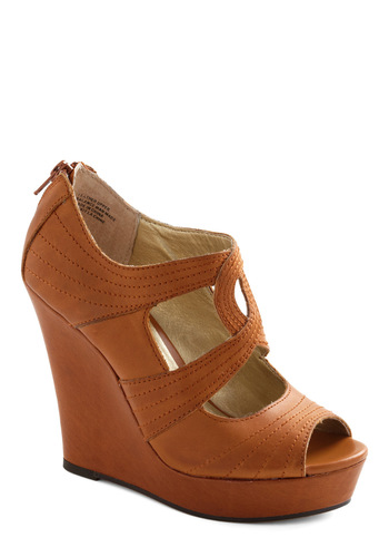 Seven Wonders Wedge by Seychelles - Wedge, Tan, Solid, Cutout, Peep Toe, Party, Casual, Leather, Platform, High