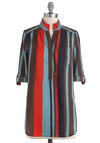 Vertical & the Gang Top - Multi, Red, Blue, Brown, Stripes, Buttons, Pockets, Casual, Short, Fall, V Neck