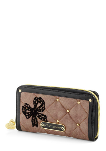 Betsey Johnson Quilt to be Tied Wallet by Betsey Johnson - Tan, Gold, Black, Solid, Bows, Studs