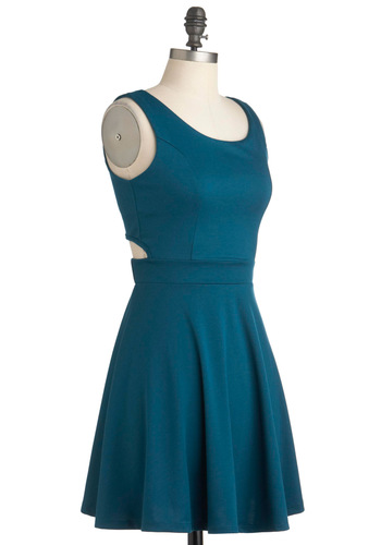 Brunch Party Dress - Solid, Casual, A-line, Short, Buttons, Cutout, Blue, Tank top (2 thick straps), Fit & Flare