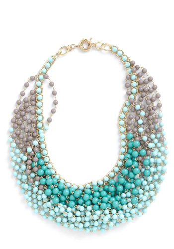 Statement of the Art Necklace in Sky - Green, Tan / Cream, Beads, Party, Luxe, Statement, Daytime Party
