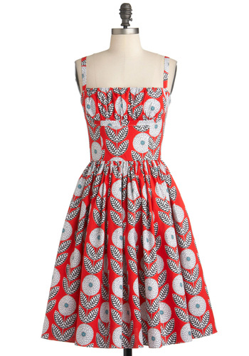 What a Dahlia Dress in Straps by Bernie Dexter - Orange, White, Vintage Inspired, Sleeveless, Fit & Flare, Mid-length, Black, Floral, Cotton, Daytime Party, Press Placement