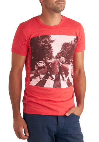 Andrew's Road Tee - Red, Black, White, Casual, Short Sleeves, Mid-length, Coral, Music