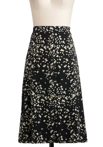 Smooth as Butterfly Skirt - Long, Black, Tan / Cream, Pockets, A-line