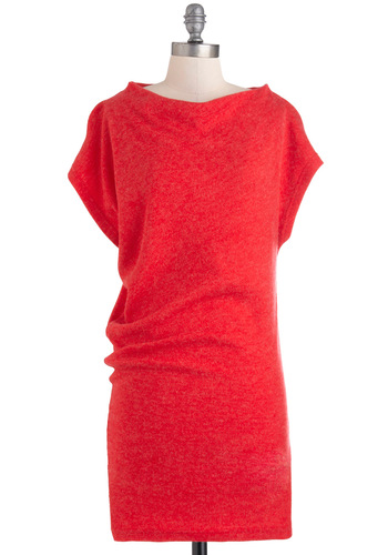 A New Angle Dress in Red - Short, Red, Solid, Casual, Short Sleeves, Fall, Mod, Sweater Dress, Rustic, Cowl, Minimal
