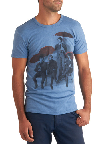 Parasol Her Standing There Tee in Mens - Blue, Red, Black, Casual, Short Sleeves, Mid-length, Print, Mod, Music