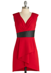 Sure Looks Swanky Dress - Mid-length, Red, Black, Sheath / Shift, Sleeveless, Pockets, Pleats, Party