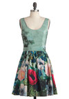 Keeping It Realism Dress - Green, Multi, Floral, Pleats, Party, Tank top (2 thick straps), Folk Art, Fit & Flare, International Designer