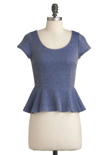 Spotlight on Sophistication Top - Short, Blue, Pink, Exposed zipper, Party, Peplum, Short Sleeves, Solid, Glitter, Tis the Season Sale