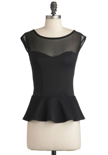 Clock Out On the Town Top - Black, Solid, Peplum, Mid-length, Party, Cap Sleeves, Pinup
