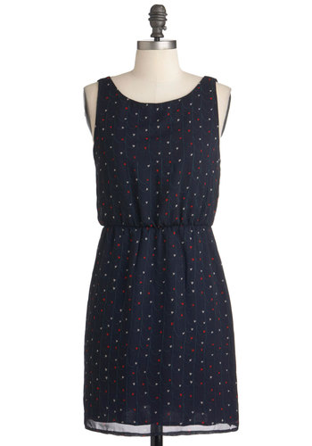 My Heart's Vineyard Dress - Short, Blue, Red, White, Casual, Sheath / Shift, Sleeveless, Summer, Tis the Season Sale