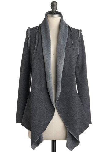 Pattern of Pretty Cardigan - Grey, Solid, Casual, Long Sleeve, Mid-length, Fall, Grey, Long Sleeve