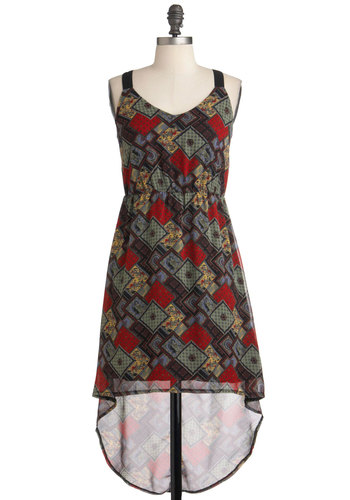 Patchwork Together Dress - Short, Print, Cutout, High-Low Hem, Sleeveless, Multi, Party, Casual, Folk Art