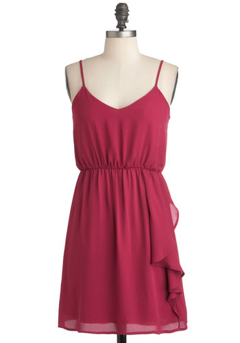 Style Me Simply Dress - Pink, Ruffles, Casual, A-line, Spaghetti Straps, Summer, Short, Solid, V Neck