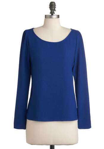 Cobalt from the Blue Top - Blue, Solid, Long Sleeve, Mid-length, Boat