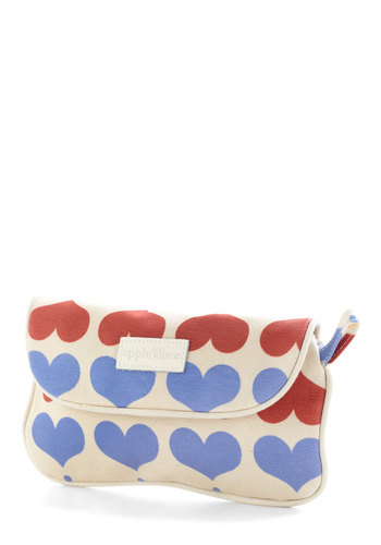 A la Heart Makeup Bag - Quirky, Red, Purple, Tan / Cream, Print