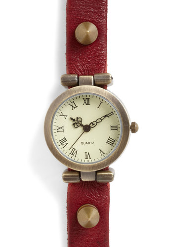 Time Will Rebel Watch - Red, Gold, Studs, Casual, Scholastic/Collegiate, Leather