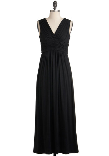Look the Part Dress - Long, Black, Solid, Casual, Maxi, Sleeveless, Jersey, V Neck