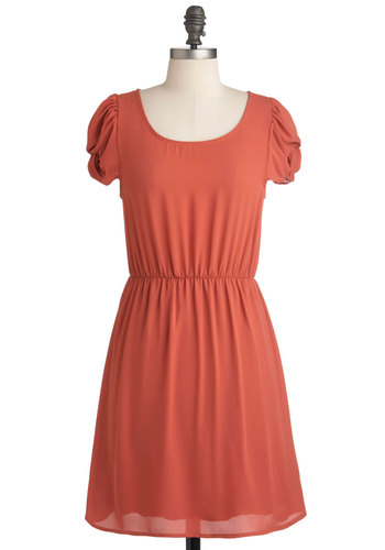 Paprika in Your Step Dress - Mid-length, Orange, Solid, Casual, Cap Sleeves, A-line