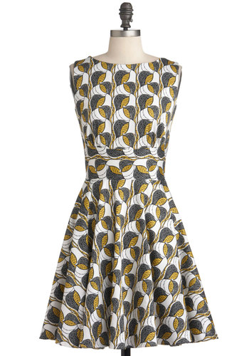 Style Synthesis Dress - Mid-length, Multi, Yellow, Black, White, Print, Cutout, Pockets, Party, Fit & Flare, Sleeveless, Exclusives, Variation, Cotton