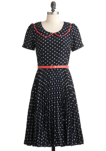 Put a Swing on It Dress by Louche - Long, White, Work, Vintage Inspired, A-line, Blue, Red, Polka Dots, Peter Pan Collar, Belted, Party, Short Sleeves, 50s, Collared, Fit & Flare, International Designer