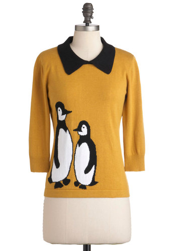 In It to Penguin It Sweater by Sugarhill Boutique - Mid-length, Yellow, Black, White, Casual, Long Sleeve, Print with Animals, Fall, Winter, Collared, International Designer, Novelty Print