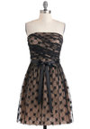 Simply a Formality Dress - Black, Tan / Cream, Lace, Ruching, Party, Film Noir, A-line, Strapless, Fall, Mid-length, Belted, Prom, Wedding, Cocktail