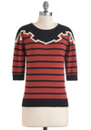 Notch Over Me Sweater by Sugarhill Boutique - Mid-length, Red, Tan / Cream, Black, Stripes, Casual, 3/4 Sleeve, Fall, Knitted, International Designer