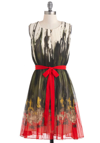 Penchant for Pigment Dress - Party, Vintage Inspired, Sleeveless, Fall, Mid-length, Multi, Print, Pleats, Belted, A-line, Red, Yellow, Green, Grey, White, Sheer