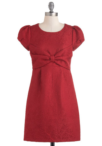 Jacquard London Dress by Yumi - Short, Red, Bows, Shift, Cap Sleeves, Pockets, Solid, Party, Holiday Party, Cocktail