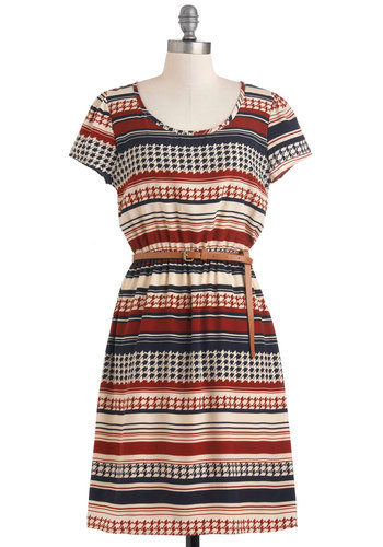 Den Again Dress - Mid-length, Multi, Red, Blue, Tan / Cream, Stripes, Houndstooth, Belted, Casual, Sheath / Shift, Short Sleeves, Fall, Variation