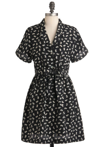 Pied a Terrier Dress - Mid-length, Black, White, Print with Animals, Belted, Casual, A-line, Short Sleeves, Exclusives, Button Down, Collared