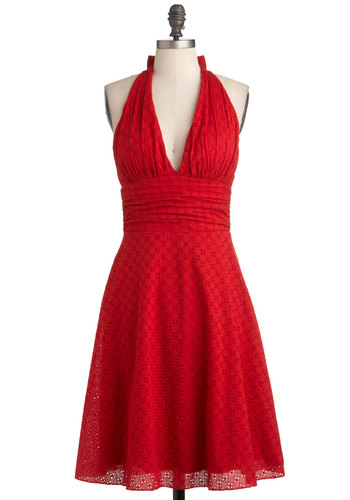 Picnic in Paradise Dress - Mid-length, Red, Eyelet, Party, Casual, A-line, Halter, Summer, Solid, Pinup, Vintage Inspired, Exclusives, Cotton, Fit & Flare