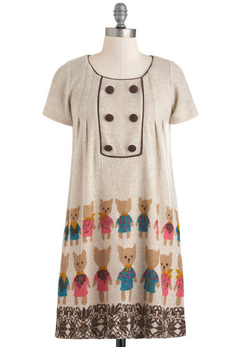 Paws-itively Pals Dress - Tan, Blue, Pink, Brown, Buttons, Casual, Short Sleeves, Mid-length, Print with Animals, Quirky, Fall, Sweater Dress, Rustic
