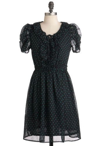 Drops of Darling Dress - Mid-length, Black, Green, Polka Dots, Tie Neck, Party, A-line, Short Sleeves, Exclusives, Sheer