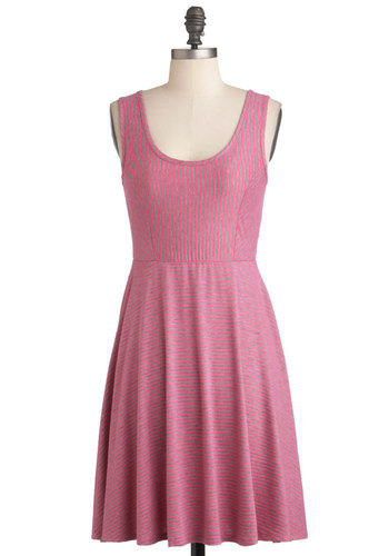 Cheer Up the City Dress in Pink - Mid-length, Pink, Grey, Stripes, Casual, A-line, Tank top (2 thick straps), Summer, Exclusives, Variation, Scoop